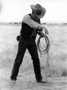James Dean the Giant about to do a rope trick