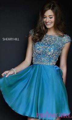 Cap-Sleeve Beaded Party Dress by Sherri Hill