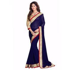 aeac4879db498e Art Silk Lace Work Blue Plain Saree - 921 In Stock: Rs 880 Work Sarees