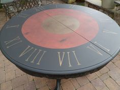 Breakfast Table Clock Face Hand Painted and Distressed  Red and Black and Gold