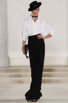 Ralph Lauren. This look never gets old. Classic white button down with slim long skirt.