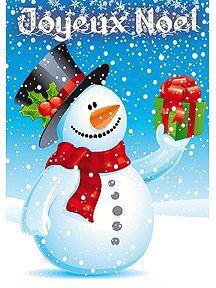 Un Bonhomme de neige qui détient un cadeau, à imprimer sur cette carte