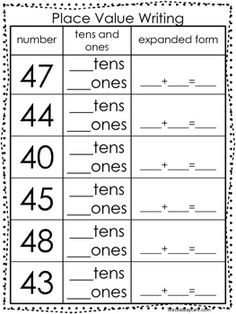 10 Place Value Worksheets. Writing Tens and Ones and Expanded Form. Tens And Ones Worksheets, Mental Maths Worksheets, Math Practice Worksheets, Place Value Worksheets, Math Place Value, 2nd Grade Worksheets, School Worksheets, First Grade Math, Place Values