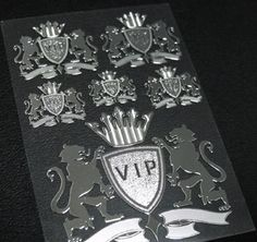VIP-1 Metal Plate Decals  ※ Production will be done immediately after your firm order.  + Main photo of a white background = protection film attached photos. + After installation, please remove protective film + Be sure to check the size of the product. + Materials : Nickel + Chrome + Quantity : 1pcs (6 LOGO)  A-Type FULL SIZE  : 6.8 x 9.5 cm (2.67 x 3.74 inch)  B-Type Full SIZE  : 10 x 14 cm (3.93 x 5.51 inch) C-Type FULL SIZE : 14 x 20 cm (5.51 x 7.87 inch)  + Thickness: about 0.07 mm very…