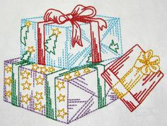 Christmas Presents color work machine embroidery Embroidery Applique, Machine Embroidery, Christmas Presents, Advent Calendar, Holiday Decor, Winter, Etsy, Color, Holiday Gifts