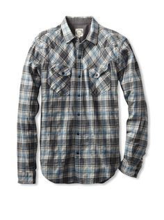 60% OFF BTNS Men's Flannel Shirt (Blue)