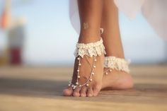 Danza de Marfil boho de perlas y encaje Playa boda sandalias