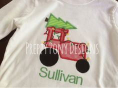 Christmas Tree Tractor Shirt by preppyponydesigns on Etsy