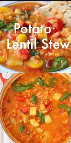 Vegan Red lentil and potato stew recipe with smoky roasted peppers and spinach ⭐️⭐️⭐️⭐. Vegan Red lentil and potato stew recipe with smoky roasted peppers and spinach ⭐️⭐️⭐️⭐. Red Lentil Stew Recipe, Potato Stew Recipe, Potato Lentil Soup, Red Lentil Recipes, Red Lentil Soup, Corn Soup, Corn Chowder, Veggie Recipes, Whole Food Recipes