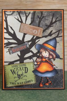 Encres pompette quelque chose Wicked This Way vient Halloween carte
