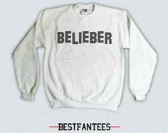 Belieber Justin Bieber Sweatshirt - Fans hollywood Belieb Believe Believer White Crewneck Sweater Jumper 020 via Etsy