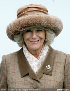 Duchess of Cornwall, February 13, 2015 in Lock & Co. | Royal Hats....Posted on February 13, 2015 by HatQueen....The Duchess of Cornwall attended The Royal Artillery Gold Cup races held at Sandown Park in Esher today.