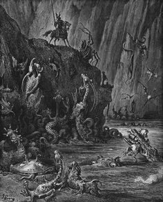 Gustave Doré, Don Quixote de la Mancha, A knight comes to a lake of boiling pitch inhabited by gruesome monsters, 1863