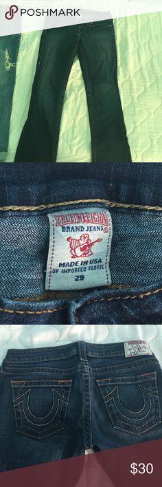 True religion size 29 jeans Orange and yellow stitching dark jeans true religion True Religion Jeans