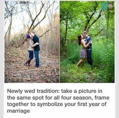 Newly wed tradition: take a picture in the same spot for all four seasons, frame together to symbolize your first year of marriage Cute Wedding Ideas, Wedding Goals, Wedding Tips, Perfect Wedding, Wedding Planning, Dream Wedding, Wedding Day, Wedding Stuff, Wedding Pictures