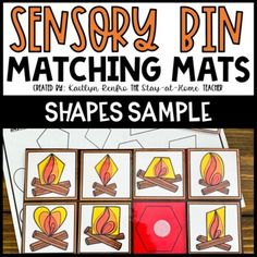 Campfire Shapes Sensory Bin Matching Mat and... by The Stay at Home Teacher - Kaitlyn Renfro | Teachers Pay Teachers Preschool Binder, Preschool Printables, Preschool Worksheets, Teacher Blogs, Teacher Resources, Shape Matching, Shaped Cards, Recording Sheets, Camping Theme