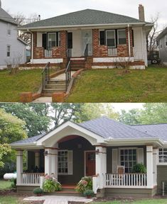 Best exterior house colors before and after porch addition ideas House, House Front, Flipping Houses, House Makeovers, Ranch House, Home Remodeling, Home Exterior Makeover, Porch Addition, Exterior Remodel
