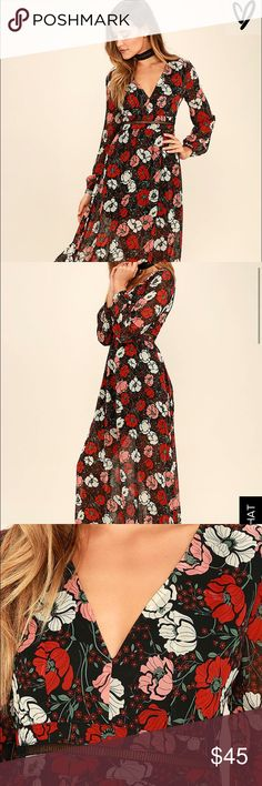 BLACK AND RED FLORAL PRINT MAXI DRESS-NWT! New with tags never been worn. Floor length. Choker not included Lulu's Dresses Maxi