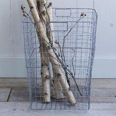 Wire Mesh Storage - Rectangular Hamper - For brooms etc