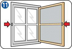 Instructions on how to own a fly screen door or a fly screen window. Window Fly Screens, Fly Screen Doors, Diy Wood Projects, Home Projects, Porte Diy, Cordless Power Tools, Wood Pallets, Diy Furniture, Diy And Crafts