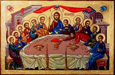 Serhei Vandalovskiy - Last Supper Last Supper Art, Roman Church, Russian Icons, Byzantine Icons, Orthodox Christianity, Eucharist, Holy Week, Art Icon, Sacred Art