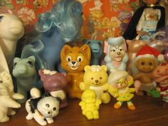 Some of my current 80s and 90s toys #2:  My Little Pony, Littlest Pet Shop, Strawberry Shortcake, Oliver and Company McDonald's Toys, Russ Troll, and an unknown little yellow plastic doll