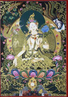 White Tara Thangka Painting #tibetan #thangka