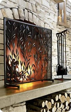 Rustic Fireplace Screens | ... by the Rustic Botanical Fireplace Screen from Crate & Barrel