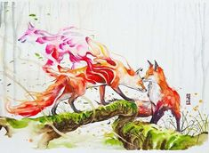 """Original painting by Luqman Reza Mulyono (Jongkie) entitled """"Tales of Fox"""". This painting painted on 3 August Medium watercolors (DanielSmith & Winsor&Newton) on Canson Montval (Artist quality watercolor paper) size Watercolor Paintings Of Animals, Watercolor Artists, Watercolor Animals, Animal Paintings, Animal Drawings, Art Drawings, Watercolor Paper, Fuchs Illustration, Fox Drawing"""