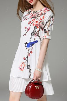 Pleated Layered Floral Dress