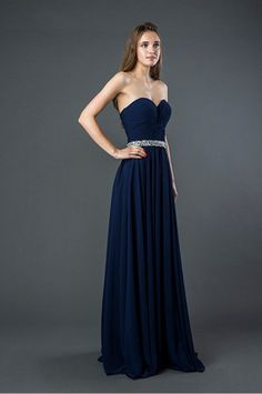E121 Long Chiffon Bridesmaid or Prom Dress with Jeweled Waistline