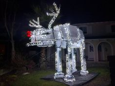 Post with 1572 views. Rudolph the giant red nosed Star Wars AT-AT Christmas light reindeer? Star Wars Christmas Lights, Star Wars Christmas Decorations, Christmas Sled, Star Wars Decor, Christmas Themes, Halloween Decorations, Xmas, Naughty Christmas, Black Christmas