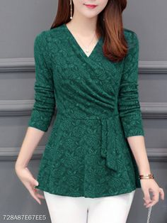 Autumn Spring Polyester Women V-Neck Floral Plain Long Sleeve Blouses Stylish Shirts, Stylish Dresses, Casual Dresses, Casual Outfits, Chiffon Shirt, Chiffon Tops, White Chiffon, Blouse Styles, Blouse Designs