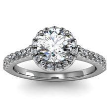 Pave Diamond Halo Ring set in 18k White Gold