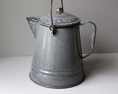 Gray Enamelware Kettle, Very Large 1.25 Gallon (20 cup) Capacity, Graniteware Cowboy Coffee Pot, Chuck Wagon Tin Coffee Boiler, Camp Kettle