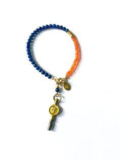 Vintage Watch Key Bracelet, Lapis Lazuli Beaded Bracelet, Vintage Charm…