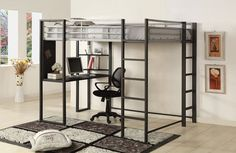 """Sherman silver and gun metal finish metal frame Full size loft  Bunk bed with desk are with shelves underneath.  This set features a silver and gun metal finish metal frame with a desk area with shelves underneath.  Measures 80 7/8"""" x 58 1/2"""" x 72"""" H.  Some assembly required."""