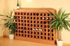 www.rimini-bausteine.de/baustoffe/Weinlagersteine/Due Beispiel für das Weinregal Trois aus Weinlagersteinen aus Ton