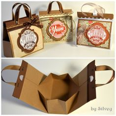 """DIY Mini Bags Using 8.5x11"""" Cardstock  Mostly folding only. Super easy!  (tutorial link: http://stampwithsilvey.blogspot.com/2012/08/mini-bag-tutorial.html)"""
