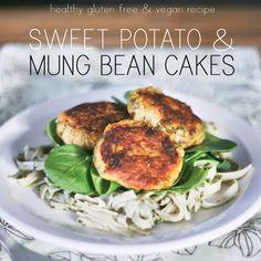 Gluten Free & Vegan Recipe Main Dishes with sweet potatoes, mung beans, sweet onion, flax seeds, turmeric, cayenne pepper, sea salt, pepper, chickpeas, grapeseed oil