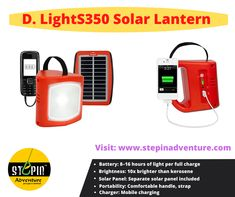 The d.light S350 solar-powered lantern ensures that your mobile battery never runs out, while also illuminating your home or business. #dlightss350 #dlightsolarlanternss350 #dlights #SolarTorch #SolarCharger #SolarInflatableLight #Agnisolar #sunforeveryone #minitorch #adventure #outdooradventure #shoponline #stepinAdventure #solarlight #trekkingtorch #torch #light #travel #travelling #camping #outdoor #outdoorgear #InflatableLight Solar Powered Lanterns, Solar Lanterns, Solar Lights, Phone Battery Charger, Solar Charger, Trekking Gear, Hiking Gear, Torch Light, Solar Energy