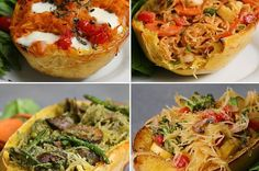 Spaghetti Squash 4 Ways (Easy Dinner For Abendessen Rezepte 🍔 Vegetable Recipes, Vegetarian Recipes, Cooking Recipes, Healthy Recipes, Pad Thai Recipes, Zone Recipes, Gourmet Cooking, Chicken Recipes, Healthy Cooking Recipes
