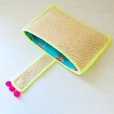 Most Creative Crochet Bag Free Patterns and Ideas 2019 - Page 6 of 32 - belikeanactress. Bag Crochet, Crochet Clutch, Neon Bag, Popular Crochet, Handmade Clutch, Beautiful Crochet, Etsy Store, Sunglasses Case, Free Pattern