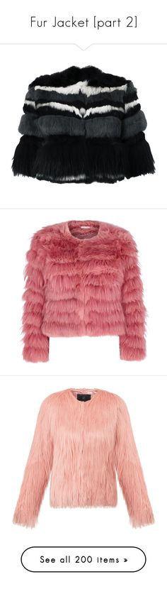 """""""Fur Jacket [part 2]"""" by janelee8598 ❤ liked on Polyvore featuring outerwear, jackets, black, short-sleeve jackets, short sleeve crop jacket, striped jacket, fur jacket, zip front jacket, coats and pink"""