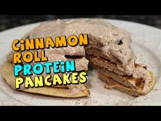 Cinnamon Roll PROTEIN Pancakes Recipe - YouTube
