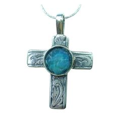 Roman Glass Floral Cross 925 silver Cross  Roman by MichalDesigns