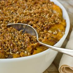Sweet Potato Bread Pudding with Pecan Streusel and Whiskey Sauce