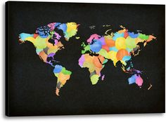Picture of Colorful World Map III. #kidsdecor #kidscience #science #wallart #renovate #unitedstates #USA #watercolor #geography #preteen