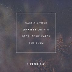 "36.2k Likes, 263 Comments - Daily Bible Verses (@daily_bibleverses) on Instagram: """"casting all your anxieties on him, because he cares for you."" ‭‭1 Peter‬ ‭5:7‬ ‭ESV‬‬"""
