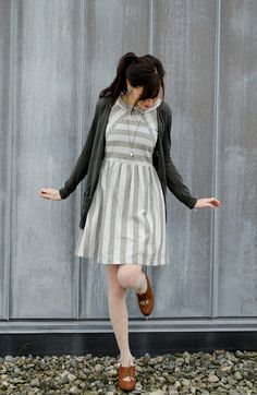 Dress! Cardigan, necklace, shoes.
